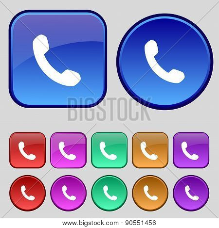 Phone, Support, Call Center Icon Sign. A Set Of Twelve Vintage Buttons For Your Design. Vector