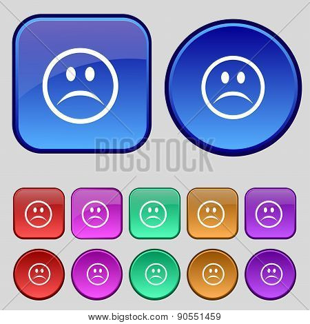 Sad Face, Sadness Depression Icon Sign. A Set Of Twelve Vintage Buttons For Your Design. Vector