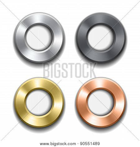 Donut buttons template with metal texture.