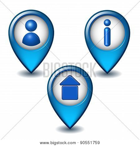 Set of blue map pointer icon.
