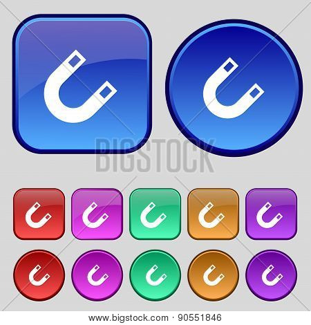 Magnet, Horseshoe Icon Sign. A Set Of Twelve Vintage Buttons For Your Design. Vector