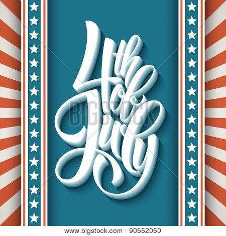 4th of July. Dn American Independence. Typography card. Vector illustration