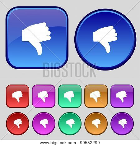 Dislike, Thumb Down Icon Sign. A Set Of Twelve Vintage Buttons For Your Design. Vector