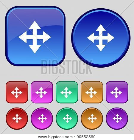 Deploying Video, Screen Size Icon Sign. A Set Of Twelve Vintage Buttons For Your Design. Vector