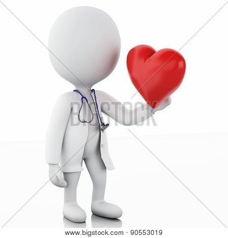 3d people doctor with a stethoscope and red heart.