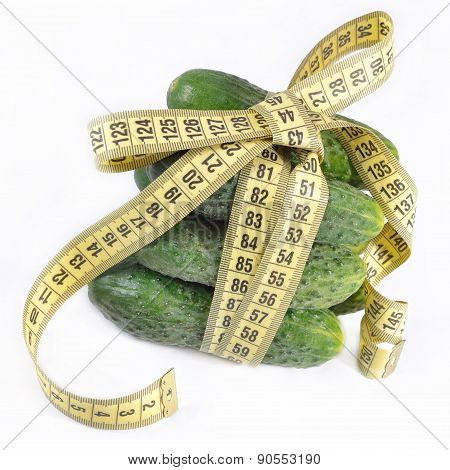 Cucumbers With Yellow Measuring Tape