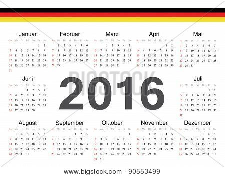 Vector German Circle Calendar 2016
