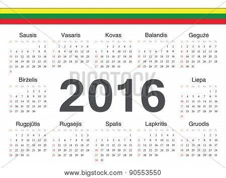 Vector Lithuanian Circle Calendar 2016