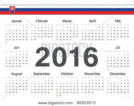 Vector Slovak Circle Calendar 2016