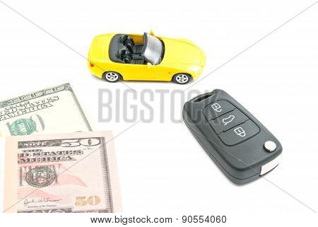 Yellow Car With Keys And Money