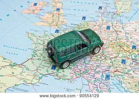 Green Car Model On The Map