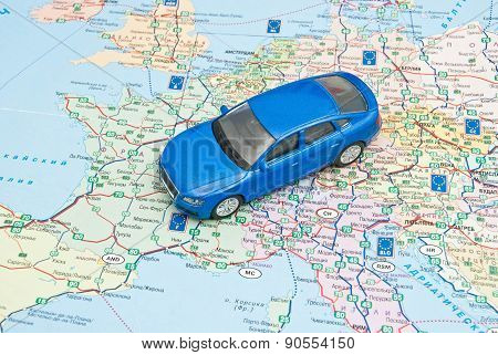 Blue Car On Map