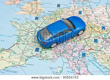 Blue Car On The Map