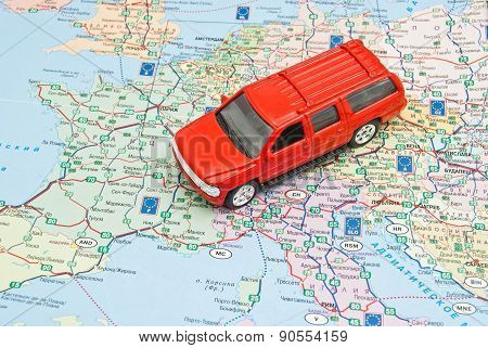 Red Car On The Map