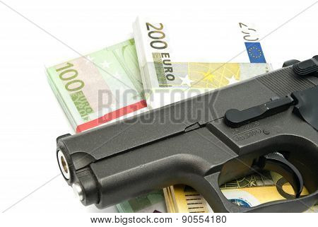 Gun And Banknotes