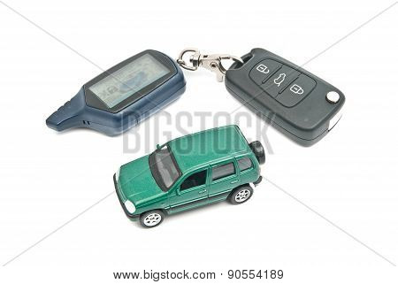 Green Car And Keys On White