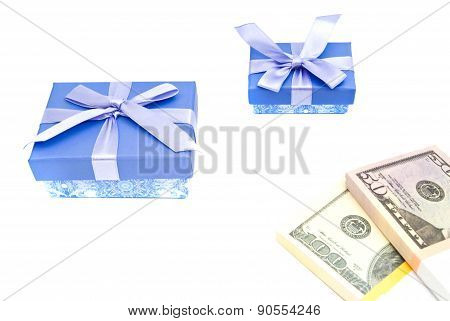 Two Blue Gift Boxes And Money