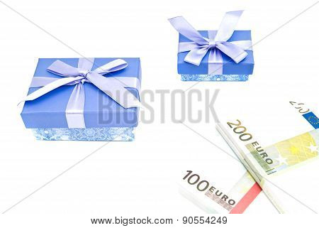 Two Blue Gift Boxes And Notes