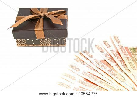 Brown Gift Box And Money