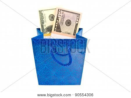 Banknotes In Blue Gift Package