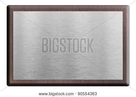 Wooden plaque with silver plate isolated on white