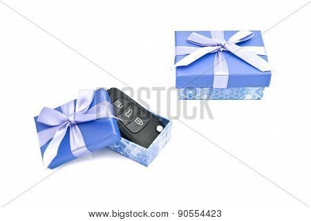 Keys And Blue Gift Boxes