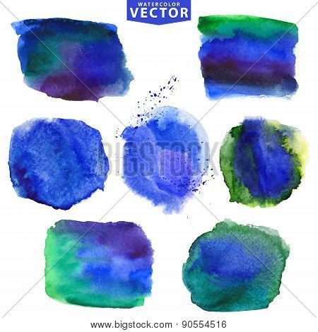 Watercolor stains.Cool,blue