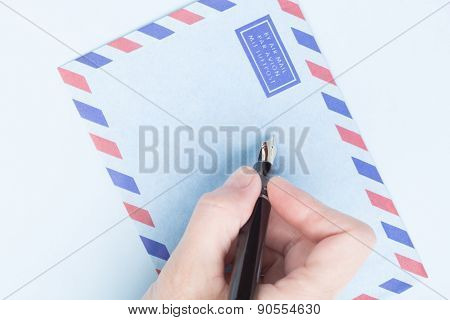 Female Hand Signs Airmail Envelope