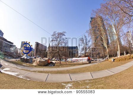 The Protest Camp Of The Occupy Frankfurt Movement At The European Central Bank