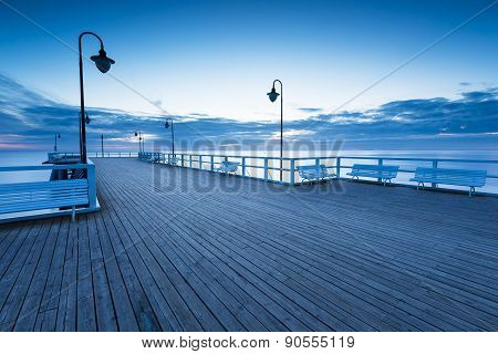 Beautiful Morning Seascape With Wooden Pier