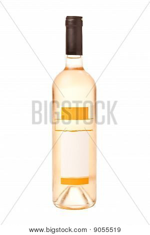 Full bottle of white wine with blank vignette and dew isolated on white