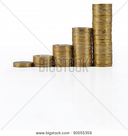 Increasingly Higher Stacks Of Gold Coins On A White