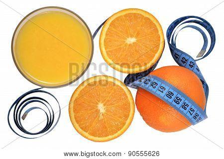 Oranges, Glass Of Orange Juice And Measuring Tape