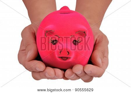 Piggy Bank In The Palm Of Hands