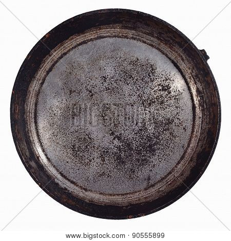 Dirty Old Frying Pan On A White