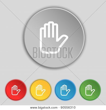 Hand Print, Stop Icon Sign. Symbol On Five Flat Buttons. Vector