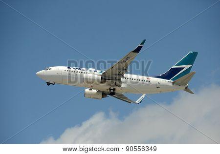 Westejet Passenger Airplane Takeoff