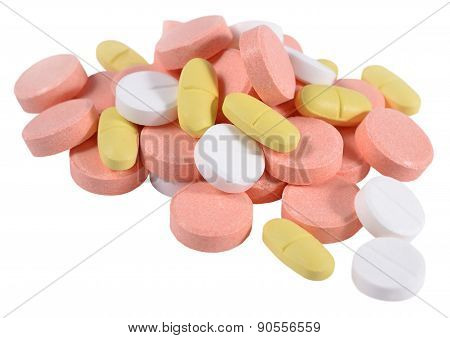 Heap Of Colorful Pills On A White