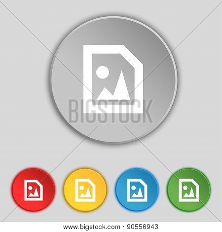 File Jpg Icon Sign. Symbol On Five Flat Buttons. Vector