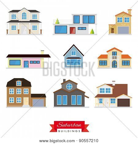 Suburban Buildings Vector Set. Collection of 9 flat design homes typical of the suburban area.