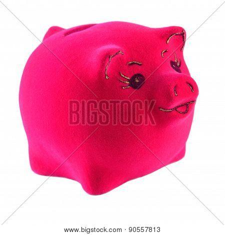 Pink Piggy Bank On A White