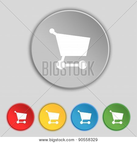 Shopping Basket Icon Sign. Symbol On Five Flat Buttons. Vector