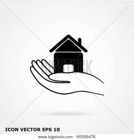 House In Hand Icon