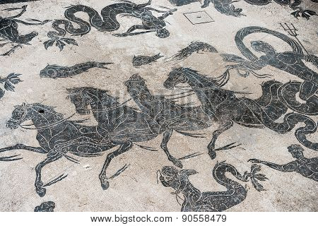 Mosaic Detail On Antique Roman Floor