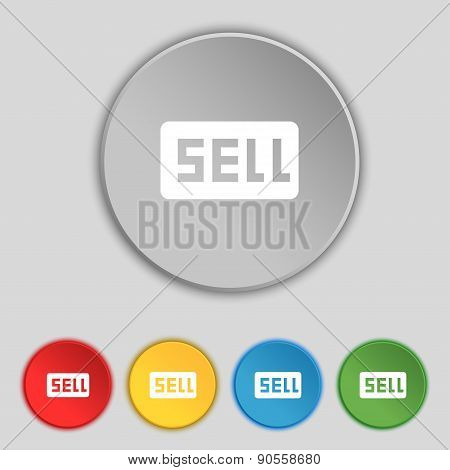 Sell, Contributor Earnings Icon Sign. Symbol On Five Flat Buttons. Vector