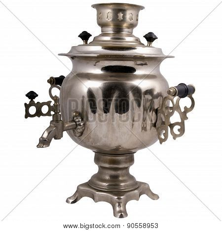 Old Samovar Made Of White Metal