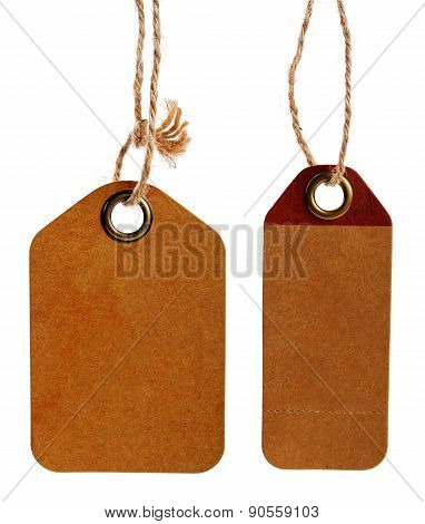 Brown Blank Cardboard Price Tags Isolated On White