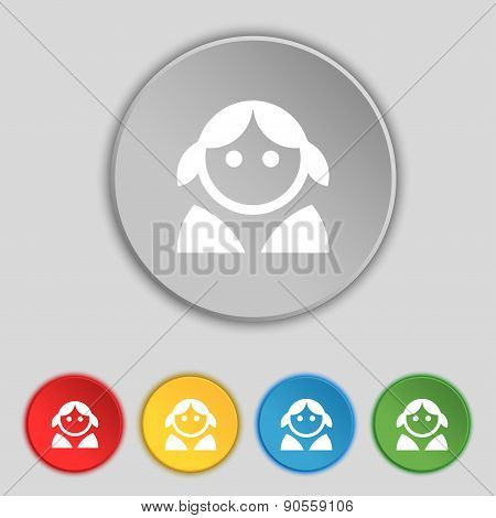 Female, Woman Human, Women Toilet, User, Login Icon Sign. Symbol On Five Flat Buttons. Vector