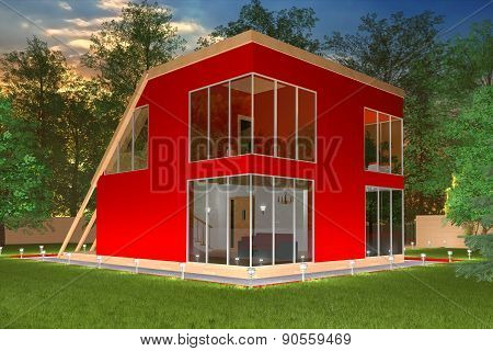 Modern red cottage in the evening