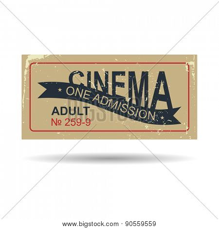 Vintage ticket on white background